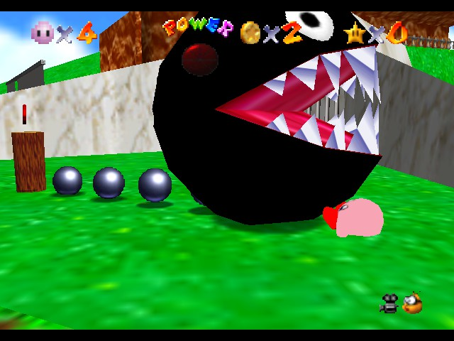 Super Mario 64 - Kirby Edition - Misc  - dam u chain chomp - User Screenshot